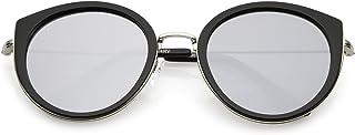 zeroUV - Modern Metal Trim Round Colored Mirror Flat Lens Cat Eye Sunglasses 53mm