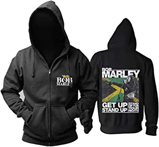 Yogo HomeCárdigan Negro De Manga Larga para Hombre, Otoño E Invierno Marley, Bob Bob. Mary Reggae Pop Music Print Cremallera con Capucha Plus Velvet Simple Casual Loose Versatile Coat (1,L)