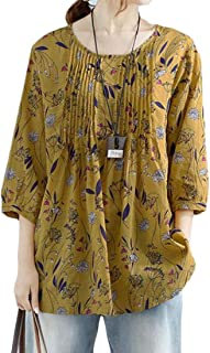 FSSE Women Loose Fit Plus Size Flower Print Cotton Linen 3/4 Sleeve T-Shirt Top Blouse
