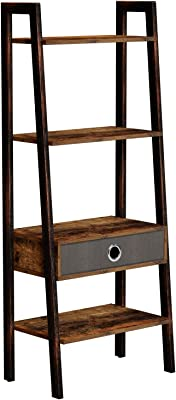 Rolanstar Ladder Shelf with Drawer, Rustic Ladder Bookshelf, 4-Tier Utility Organizer Shelves, Stable Metal Frame, for Living Room, Office Room, Rustic Brown