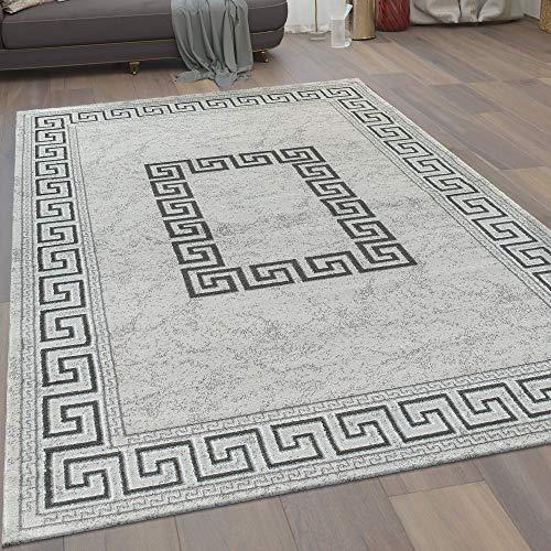Paco Home Moderner Kurzflor Wohnzimmer Teppich Mäander Muster Bordüre In Grau Schwarz, Grösse:80x300 cm
