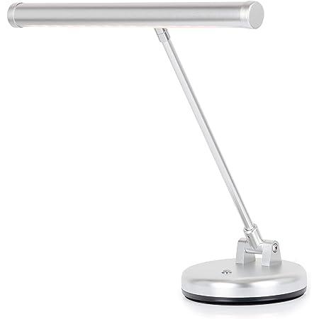 Showlite LED lampe de piano blanc chaud argentée mat