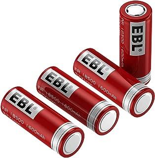 EBL 18500 Rechargeable Batteries 3.7V 1600mAh for Flashlight, Solar Garden Light