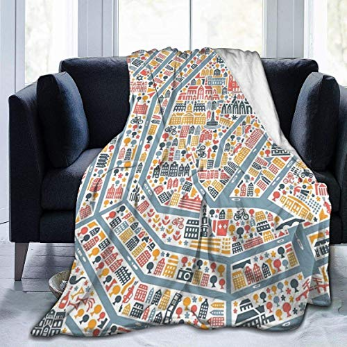 Fleece deken Amsterdam City Map Home Flannel Fleece zacht warm pluche gooi deken voor bed/bank/bank/kantoor/camping
