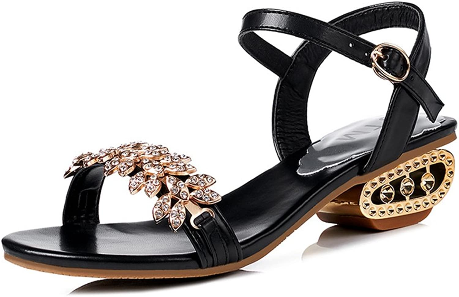 Zarbrina Womens Wedge Low Heels Sandals Charm Rhinestone Summer Open Toe Ankle Strap Roman shoes
