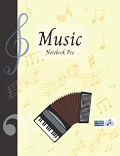 Music Notebook Pro With Instrument - Accordion | Advanced 10 Staves Interior With Educational Materials: Music Manuscript ...