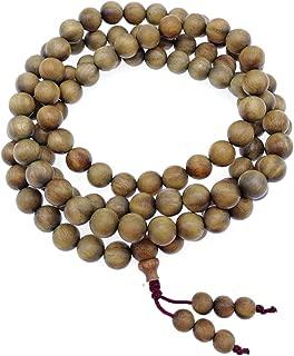 8mm Natural Fragrant Green Sandalwood 108 Mala Meditation Beads - Tibetan Buddhism Prayer Beads