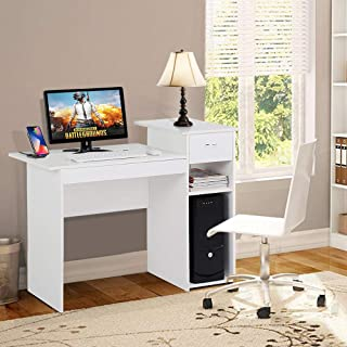 Yaheetech Small Computer Desk Study Writing Table with Drawers and Printer Shelves Workstation for Small Space Home Office White