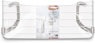 Rayen Balcones 5 m de Superficie de tendido | Tendedero para pequeñas coladas | para Interior y Exterior, Acero Pintado, ABS, Blanco y Gris, 81 x 37.5 x 15 cm