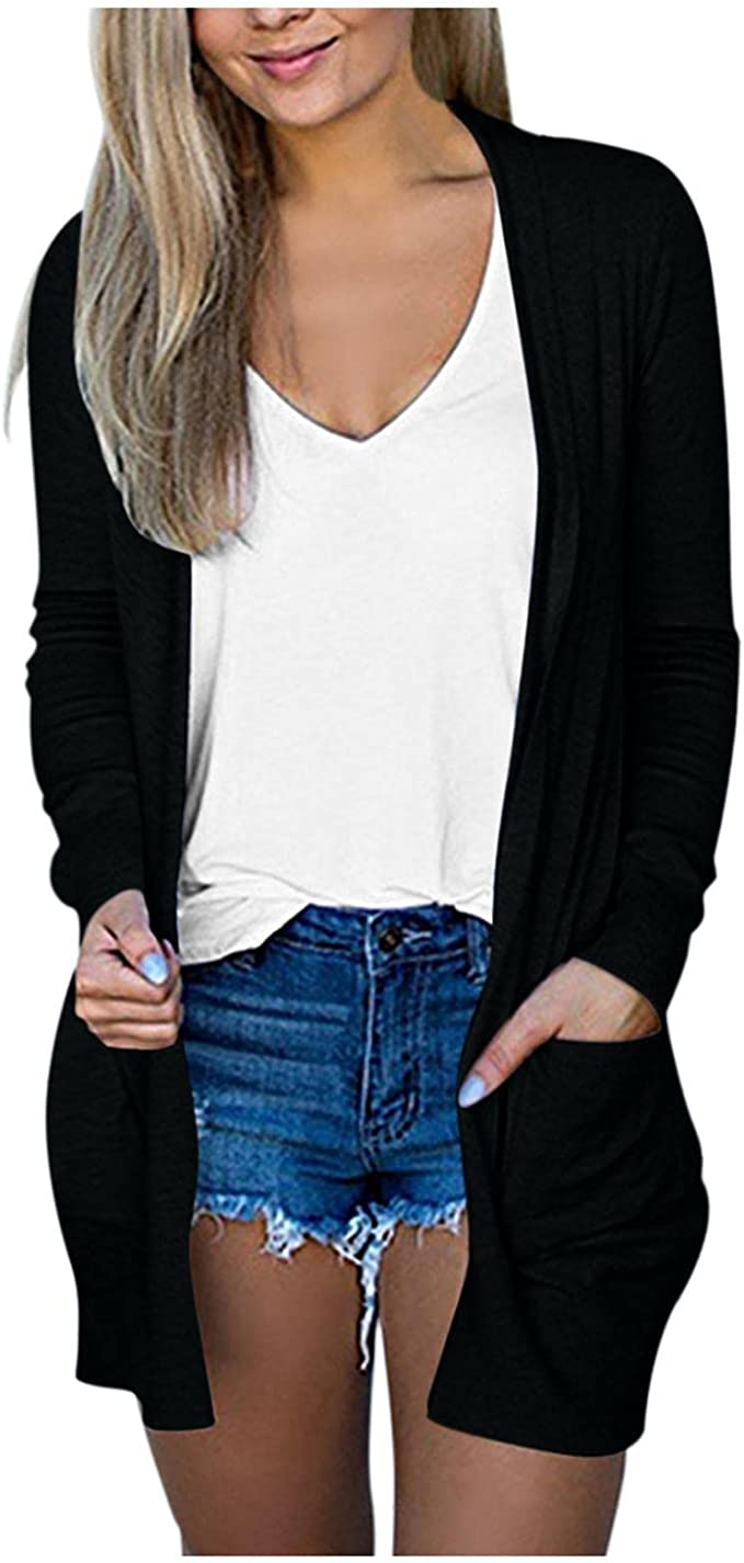 Fall Cardigan for Women Open Front, Womens Long Sleeve Sweaters Lightweight Coat Casual Fall Sweater Tops with Pockets