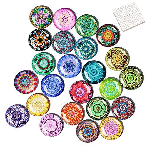 Queta Set di 24 calamite decorative per frigorifero, in vetro cabochon con motivo mandala, calamite 3D per frigorifero, lavagnetta magnetica, lavagnetta ecc.