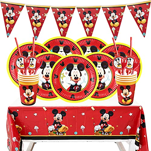 Miotlsy Birthday Party Set,Mickey Children's Birthday Table Decoration, Mickey Mouse Themed Birthday Decorations,Cake Topper for Theme Party, Tableware Set for 6 People 26-Piece