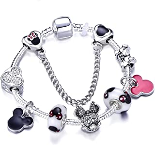 Charm Bracelets & Bangles Minnie Pink Bow-Knot Pendant Bracelet DIY Handmade,Blue White Zinc Plated,20Cm