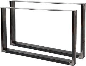 WilTec Industriële vierkante tafelpoten helder vernis 64x40cm voor tafels banken en bureaus