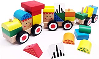 LAIYS Wooden Toy Stacking Train Set for Toddler with Shape Color Sorter and Stacking Blocks, Toddlers Puzzle Game Educational Toys for Kids, 25 Pieces