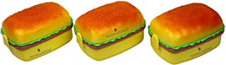 Perpetual Bliss Burger Shaped Plastic Lunch Box/2 Compartments/Return Gifts (Dimension)cm: 18x13x10 (Pack of 6)