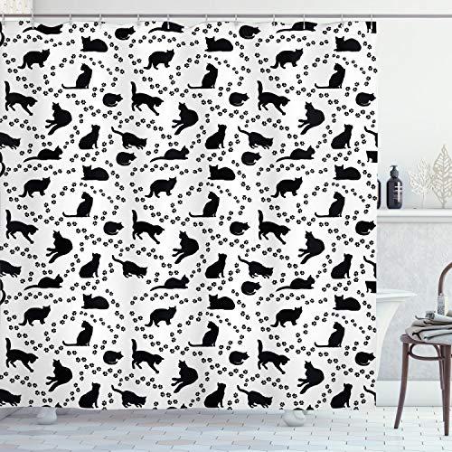 ABAKUHAUS Katze Duschvorhang, Kätzchen Abdrücke Paws, Waserdichter Stoff mit 12 Haken Set Dekorativer Farbfest Bakterie Resistet, 175 x 200 cm, Schwarz & Weiß
