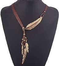Tpocean Indian Large Leaf Pluma Charms Lariat Cuero Traje Aztec Bib Collar