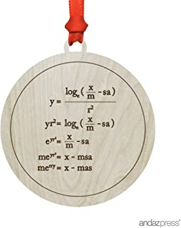 Andaz Press Funny Laser Engraved Wood Christmas Ornament Math Teacher's Gift, Merry Christmas Math Equation, Round, 1-Pack, Geeky Witty Nerdy Teacher Algebra Birthday