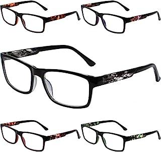 Henotin 5-Pack Reading Glasses Blue Light Blocking,Spring Hinge Readers for Women Men,Anti Glare UV Ray Filter Eyeglasses