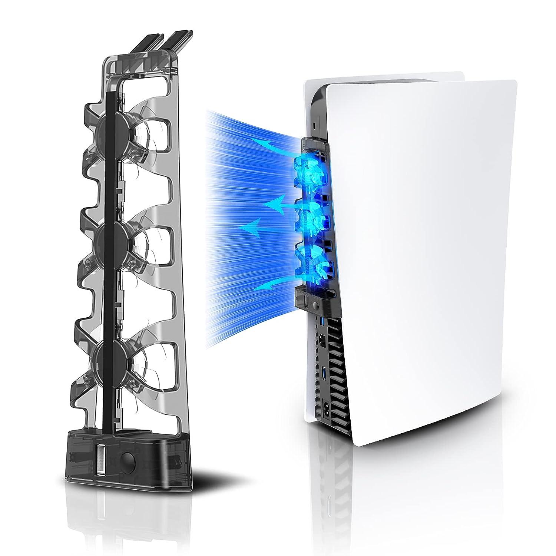 NexiGo PS5 Ventilador de refrigeración con luz LED, para discos y ediciones digitales, Sistema de enfriamiento eficiente, Fácil de instalar, Velocidad de ventiladores ajustable y puerto USB adicional