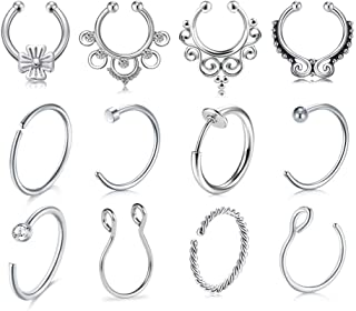 JFORYOU Fake Nose Rings Hoop Clip On Nose Septum Ring Faux Non-Pierced Nose Lip Rings Fake Ear Cuff Faux Helix Earrings Jewelry