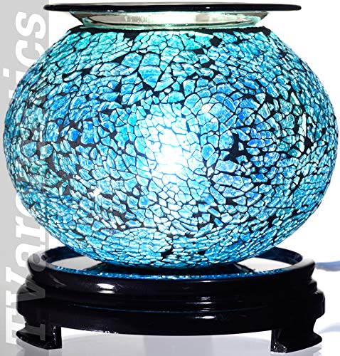 Blue Oval Glass Electric Aroma Lamp Oil and Wax Tart Warmer