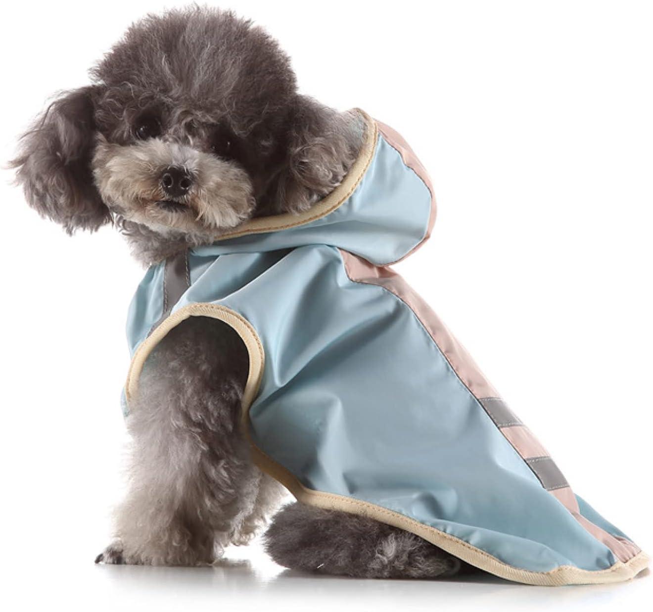 DYHJ Impermeable para Perros, Impermeable para Mascotas, Chaqueta Impermeable para Mascotas con Capucha para Lluvia Ligera y Transpirable, para Cachorros Perros Pequeños Medianos,Blue-S