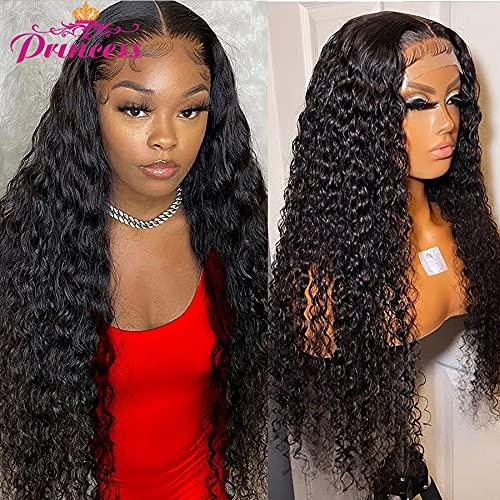 Peluca de pelo de onda profunda Pelucas de cabello humano con pelo de bebé Pelucas de encaje transparente Peluca de cierre de encaje 5X5 Peluca frontal de encaje HD
