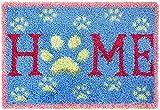 DIY Kits de alfombra de gancho de pestillo Kits de hilo de crochet de bricolaje con patrón de letras para el hogar Impreso lienzo de lienzo Set de alfombras para niños adultos 24''x16 '', lienzo en bl