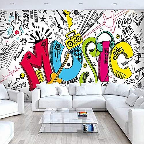 XZCWWH Modern Creative Music Theme Photo Wallpaper 3D Graffiti Wall Mural Living Room Ktv Kids Bedroom Backdrop Wall Cloth 3D Art Decor,90cm(W)×50cm(H)