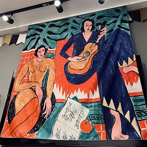 KHKJ Guitarra Mujer Matisse Tapiz Arte Bohemio Colgante de Pared Bohemio decoración del hogar Colcha A1 95x73cm