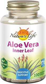 Nature's Life Aloe Vera Inner Leaf ,Skin Health, Digestive Support & Regularity Formula, With Fennel, Non-GMO & Vegan,  No Fillers 100 Veg Caps