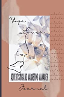 Yoga Lover Advertising and Marketing Manager Jounal: Abstract Boho aesthetic yoga themed cover art planner workbook for yo...