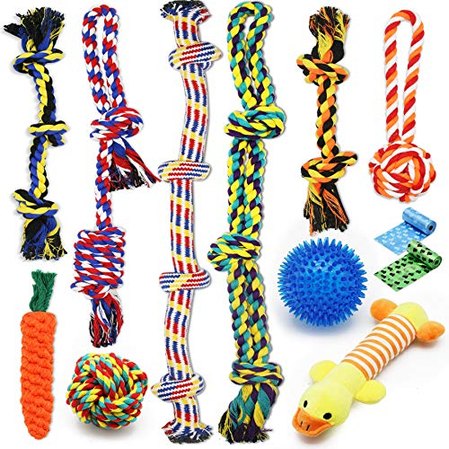 Zeaxuie Luxury Tough Dogs Toys for Aggressive Chewers (7-50lbs) -12 Pack Valued Dog Toys for Small,Medium Breed & Large Breed with Interactive Dog Rope Toys, Squeaky Dog Chew Toys for Teething