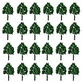 25Pcs Diorama Model Trees Green Mini Tree Set Plastic Railroad Scenery Trees Model Train Railway Trees and Bushes HO N Z Scale Architecture Trees with No Stands for DIY Landscape Toys Gift