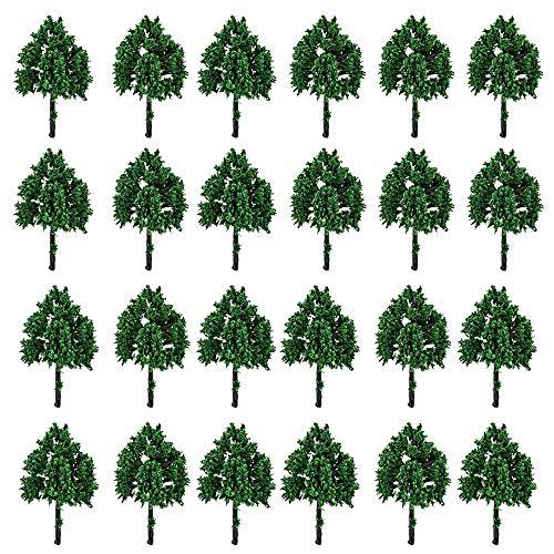 "YUSHIWA 25 PCS Mini Árbol Modelo de Plástico Árbol Diorama 1: 120 Simulación de Árbol para DIY, Mesa de Arena, Ferrocarril, Arquitectura, Paisaje en Miniatura (Verde, HO N Z, 6 cm/ 2"")"