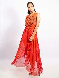 Vestido Longuete De Nylon E Tela Com Silk Start