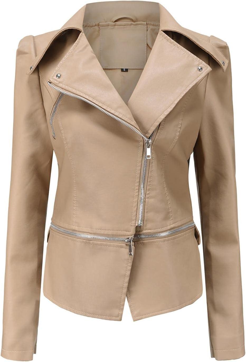 Women Fashion Faux Leather Jacket Punk Style Lapel Long Sleeve Zipper Short Moto Biker Coat Outerwear