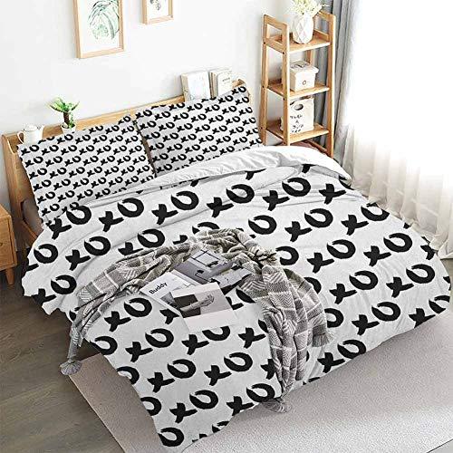 Aishare Store Xo - Juego de funda de edredón y funda de edredón (3 piezas, con 2 fundas de almohada), diseño artístico, color blanco y negro