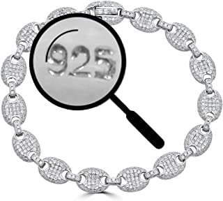 Solid 925 Sterling Silver Iced Out Puffed Mariner Link Bracelet - 8mm Link - ICY Bust Down for Men Or Women