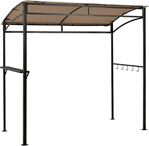 lowest Giantex 7x4.4ft Grill Gazebo, Patio Outdoor Backyard BBQ Canopy Shelter, 2021 Soft Top, Heavy-Duty Steel Construction, Storage Shelf, Hanging Hooks, Bear Opening online sale Setting, Anchor Kit (Brown) outlet sale