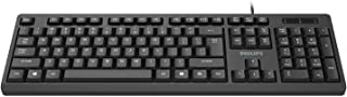Philips SPK6234 USB Wired Keyboard for PC Laptop Desktop Computers   104 Keys with Numeric Keypad