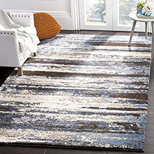 Safavieh Retro Collection RET2138 Modern Abstract Non-Shedding Stain Resistant Living Room Bedroom Area Rug, 4′ x 6′, Cream / Blue