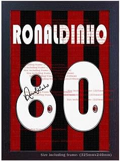 Ronaldinho Milan t Shirt Signed Autograph Printed on Canvas 100% Cotton Framed