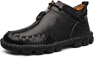 Men's Zipper Booties British Martin Boots High-top Leather Motorcycle Shoes
