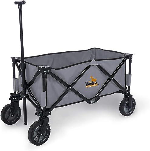 Pinolino Klappbollerwagen Porti, faltbar, mit Teleskopstange, Tragetasche und PU-Bereifung, Tragf gkeit 50 kg, grau