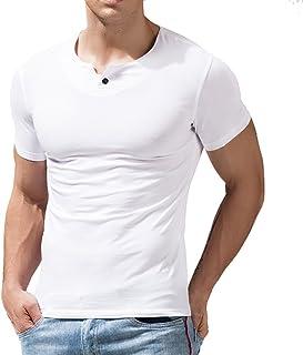 Slimbty Activewear Men Summer Casual Short Sleeve Fitness T-Shirt Single Button Placket Shirts Cotton