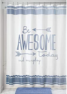 mDesign Decorative Be Awesome Quote - Easy Care Fabric Shower Curtain with Reinforced Buttonholes, for Bathroom Showers, Stalls and Bathtubs, Machine Washable - 72