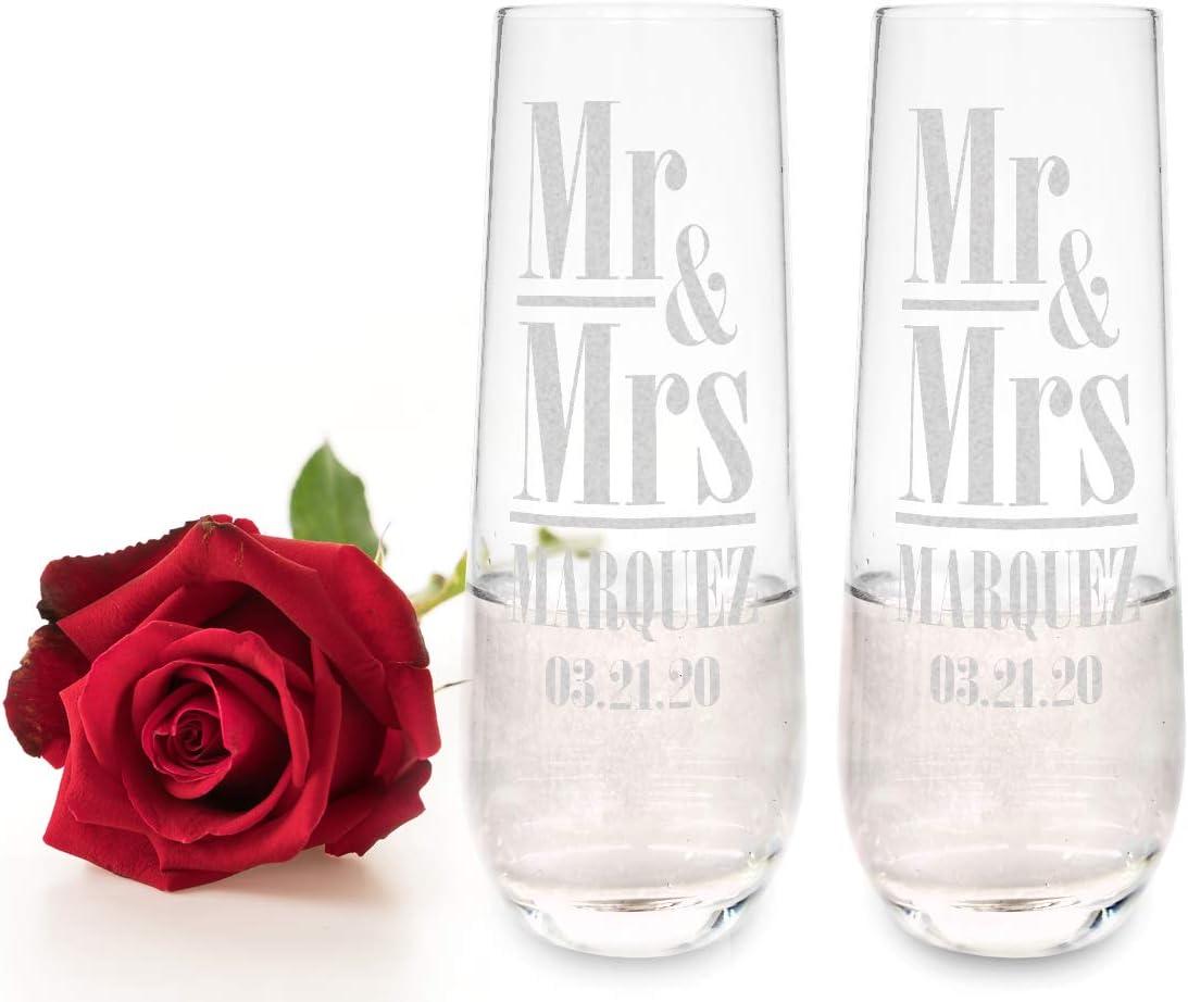 Award-winning store Mr Mrs Set of 2 Personalized Stemless Sale item Engr Groom Bride Champagne